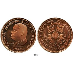 Togo, copper proof piedfort 10,000 francs, 1977, rare (20 minted).