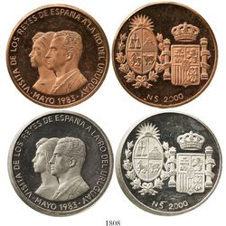 Lot of 2 Uruguay proof piedfort 2000 nuevos pesos patterns,1983, Spanish royal visit, plain edge, on