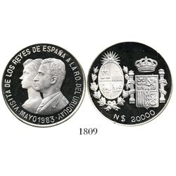 Uruguay, cameo proof piedfort 20,000 nuevos pesos, 1983, Spanish Royal visit, plain edge, rare (only