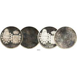 Lot of 2 Uruguay uniface proof silver trial strike 2000 nuevos pesos, 1984, Spanish royal visit, bot