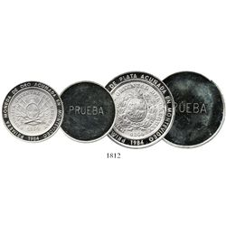 Lot of 2 Uruguay uniface proof silver trial strikes of 1984 Inter-American Bank of Development (BID)
