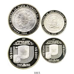 Lot of 2 Uruguay proof patterns of 1984, Inter-American Bank of Development (BID), both with reeded