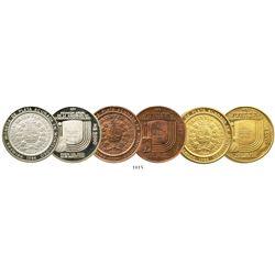 Lot of 3 Uruguay proof piedfort plain-edge pattern 2000 nuevos pesos, 1984, Inter-American Bank of D