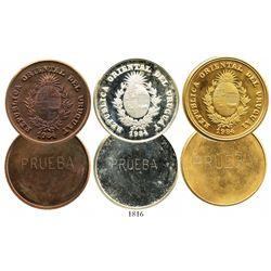 Lot of 3 Uruguay uniface proof trial strike 2000 nuevos pesos, 1984, Inter-American Bank of Developm