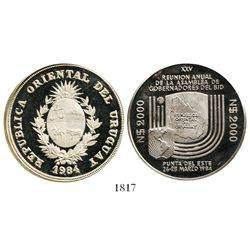 Uruguay, cameo proof plain-edge piedfort 2000 nuevos pesos, 1984, Inter-American Bank of Development