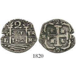 "Caracas, Venezuela, ""imitation cob"" 2 reales, date ""142"" (early 1800s), rare."