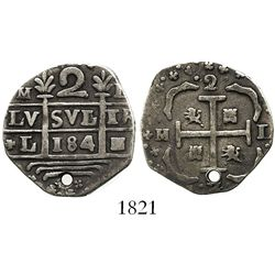 "Caracas, Venezuela, ""imitation cob"" 2 reales, date ""184"" (early 1800s), rare."