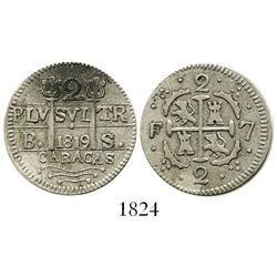 Caracas, Venezuela, 2 reales, 1819BS (contemporary counterfeit)