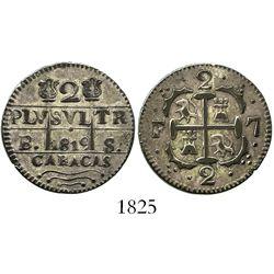 Caracas, Venezuela, 2 reales, 1819BS.