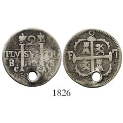 Caracas, Venezuela, 2 reales, 1820BS.