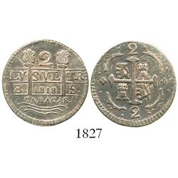 "Caracas, Venezuela, 2 reales, date ""1818"" (struck in 1830), assayer BS, fleurs instead of F-7 flanki"