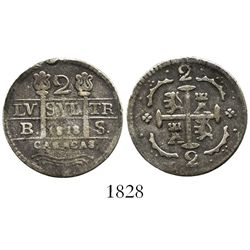 "Caracas, Venezuela, 2 reales, date ""1818"" (struck 1830), assayer BS, fleurs instead of F-7 flanking"
