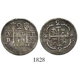 Caracas, Venezuela, 2 reales, date  1818  (struck 1830), assayer BS, fleurs instead of F-7 flanking