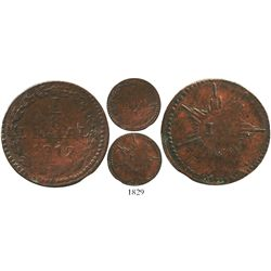Venezuela, copper 1/8 real (ochava), 1812, extremely rare die-variety (first time offered at auction