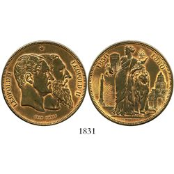 Belgium, 5 franc-sized medal in copper, Leopold II, 1880, 50th anniversary of independence.