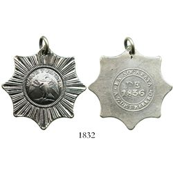 Potosi, Bolivia, silver medal in the form of an 8-point star with loop at top, 1836, Victoria de Soc