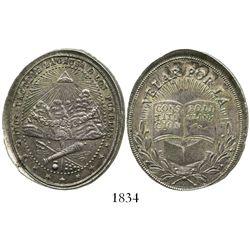 Potosi, Bolivia, oval silver medal, 1800s, pueblos, ex-Derman.