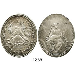 Potosi, Bolivia, oval silver medal, 1800s, education, ex-Derman.