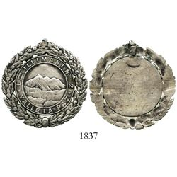 Potosi, Bolivia, uniface silver medal with garland wreath around edge, 1800s, Illimani masonic lodge