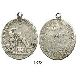 Potosi, Bolivia, oval silver medal, 1853, effective labor, ex-Derman.