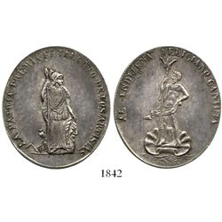 Potosi, Bolivia, large oval silver medal, late 1800s, artists, ex-Derman.
