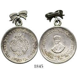 Potosi, Bolivia, 50 centavos-sized silver medal with bow-shaped hanger, 1896, Baptista, ex-Derman.