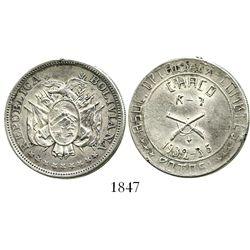Potosi, Bolivia, 50 centavos silver medal, 1935, Chaco, ex-Derman.