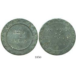 Morro Velho, Brazil, large pewter(?) slave-trade token, 320 reis, 1848, rare.