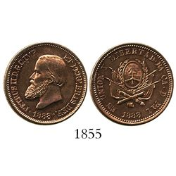 Brazil, copper proof trial for unknown denomination (penny-sized), Pedro II, 1888, with Argentina re