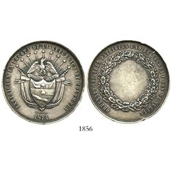 Bogota, Colombia, large silver medal in high relief, 1874, three patriots (one from Bogota and two f