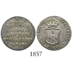 Cuba, silver 1R-sized proclamation medal, Isabel II, 1834, Havana.