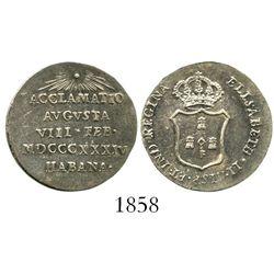 Cuba, silver 1R-sized proclamation medal, 1834, Isabel II, Havana.