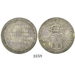 Cuba, silver proclamation medal, Isabel II, 1834, Havana.