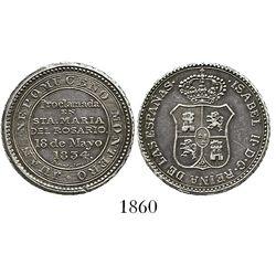 Cuba, silver proclamation medal, Isabel II, 1834, Santa Marta del Rosario.