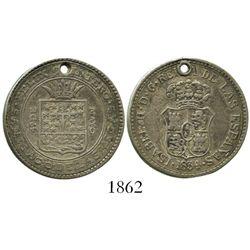 Cuba, small silver proclamation medal, Isabel II, 1834, Santiago de las Vegas.