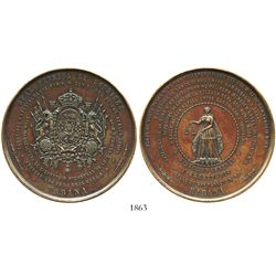 Cuba, large bronze medal, ca. 1860, Havana, royal appointment of Honradez cigarette factory of Louis