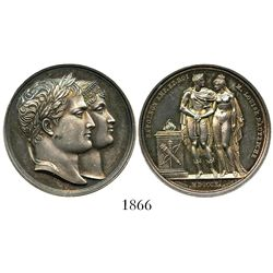 France, silver medal, Napoleon and Marie Louise of Austria, year MDCCCX (1810).
