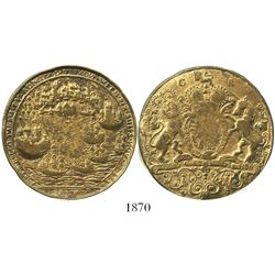 Great Britain, gilt copper Admiral Vernon medal, 1739, Porto Bello (no portrait).