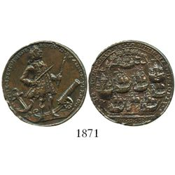 Great Britain, small copper Admiral Vernon medal, 1739, Porto Bello (Vernon and icons).