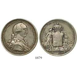 Mexico City, Mexico, silver proclamation medal, Charles IV, 1789, consulate issue, ex-Bir.