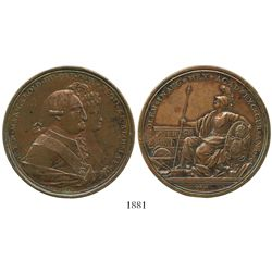 Mexico City, Mexico, bronze proclamation medal, Charles IV, 1790, university issue, ex-Bir.