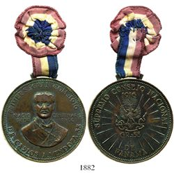 Panama, bronze medal with cloth ribbon, 1956, Dr. Carlos A. Mendoza, rare.