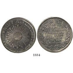 Lima, Peru, peso-sized silver medal (jura), Independence/San Martin,1821.