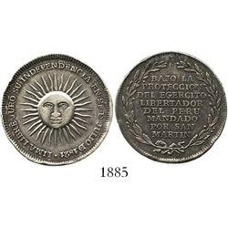 Lima, Peru, 1/2 peso-sized silver medal (jura), Independence/San Martin, 1821.