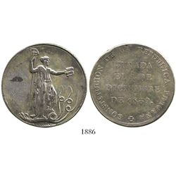 "Peru, silver ""10 reales"" (1-1/2 peso)-sized proclamation medal, 1839 (Constitution)."