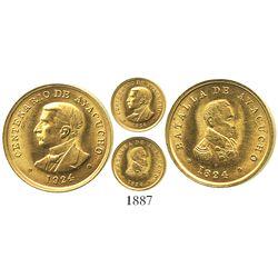 Ayacucho, Peru, small gold medal, 1924, Battle of Ayacucho commemorative.
