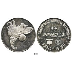 Puerto Rico, large proof silver medal, 1974, seventh world basketball championship (FIBA).