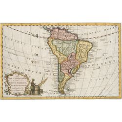 Small British map of South America (maker unknown), 1700s, hand-colored, excellent condition.
