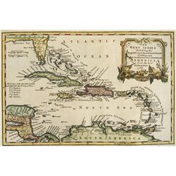 Small British map dated 1768 of the West Indies, engraved for Charles Theodore Middleton's Complete
