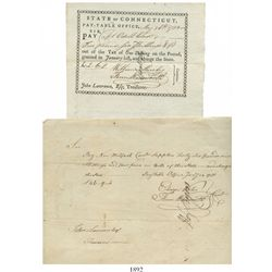 Lot of 2 Revolutionary War-era military pay documents from Connecticut: 1781 pay warrant and 1783 pa
